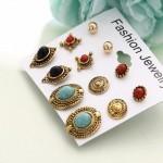Arihant Combo of 6 Pair Gold Plated Earrings PC-ERG-157