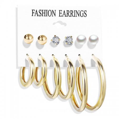 Arihant Gold Plated Set of 6 Studs & Hoop Earr...