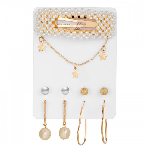 Arihant Bangles Trending Set of 4 Stud & Hoop Earrings With a Pearl Clature & Star Necklace