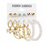 Arihant Stunning Pearl & AD Gold Plated 6 Pair of Earrings For Women/Girls PC-ERG-192