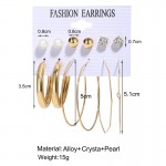 Arihant Bangles Swanky Pearl & AD Gold Plated 6 Pair of Earrings For Women/Girls