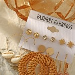 Arihant Exquisite AD Thread Design Gold Plated 6 Pair of Earrings For Women/Girls PC-ERG-199