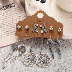 Arihant Stunning Feather Oxidised German Silver 6 Pair of Earrings For Women/Girls 8600
