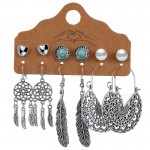 Arihant Contemporary Oxidised German Silver Plated 6 Pair of Earrings For Women/Girls 8609