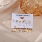 Arihant Bangles Beautiful Pearl & AD Gold Plated 6 Pair of Earrings For Women/Girls