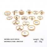 Arihant Combo of 17 Gold Plated Mixed Sized Rings PC-RNG-905