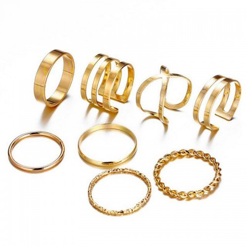 Arihant Combo of 8 Gold Plated Mixed Sized Rings P...