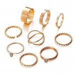 Arihant Combo of 9 Gold Plated Mixed Sized Rings PC-RNG-907