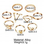 Arihant Combo of 9 Gold Plated Mixed Sized Rings PC-RNG-908