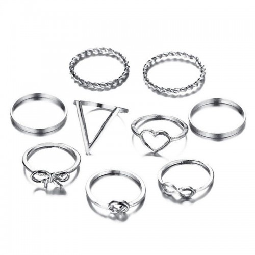 Arihant Combo of 9 Silver Plated Mixed Sized Rings...