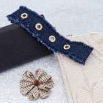 Arihant Blue Denim Fabric Choker Necklace 13504