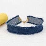 Arihant Denim Fabric Blue Wide Collar Necklace 13505