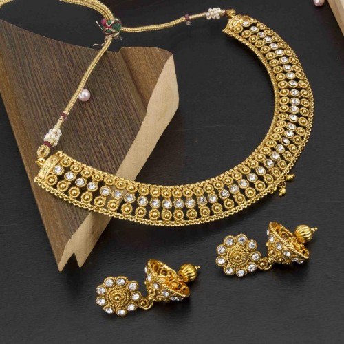Arihant American Diamond Antique Necklace Set