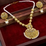 Arihant Pearl Used Floral Antique Necklace Set
