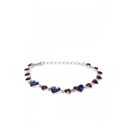 Platinum Plated Crystal Elements Red Blue Hearts B...