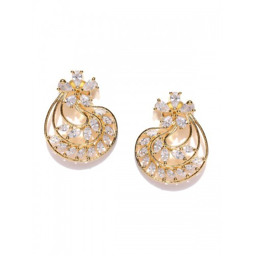 Gold Plated Traditional White Floral AD Earrings