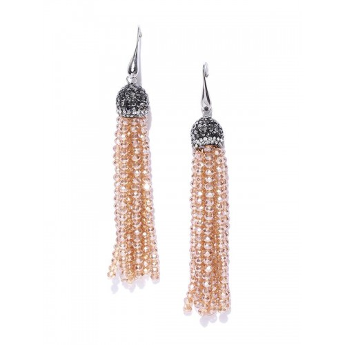 Beige & Black Silver-Plated Handcrafted Tassel...