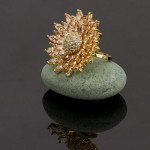 Arihant Gold Toned Stone Studded Adjustable Ring 5705