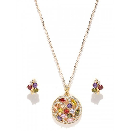 Gold Plated Multicolour Cubic Zirconia Floral Jewe...
