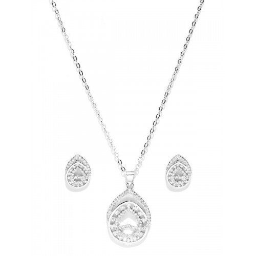 Platinum Plated American Diamond Silver Jewellery ...