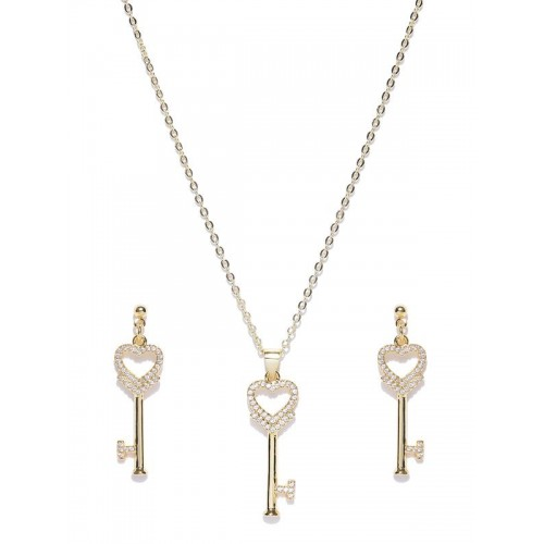 Gold Plated Hearts Golden Key Shaped Jewellery Set...