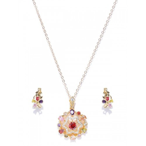 Gold Plated Cubic Zirconia Star Shaped Pendant Set