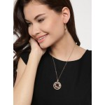 Gold Plated Cubic Zirconia Floral Shaped Pendant Set 4092
