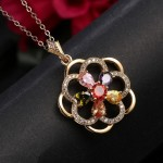 Gold Plated Cubic Zirconia Floral Shaped Pendant Set 4095