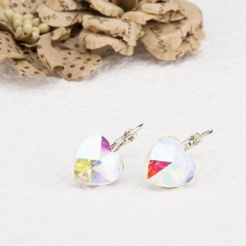 Arihant Platinum Plated Heart Shape Crystal Clip-On Earrings