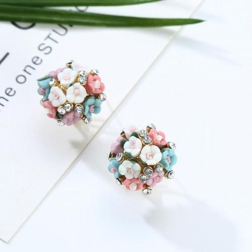 Arihant American Diamond Multicolour Floral Stud E...