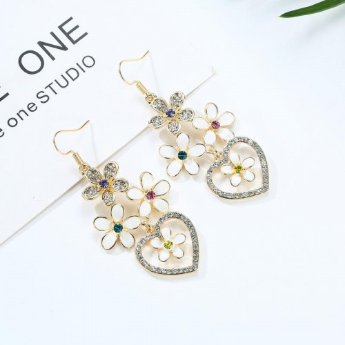 Arihant Crystal Elements Floral Drop Earrings
