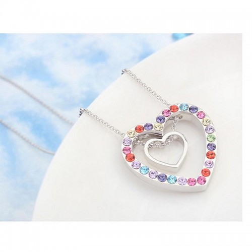 Arihant Rhodium Plated Multicolor Heart Swarovski ...