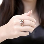 Arihant Delicate Crystal Floral Rose Gold Plated Fabulous Ring For Women/Girls 5041