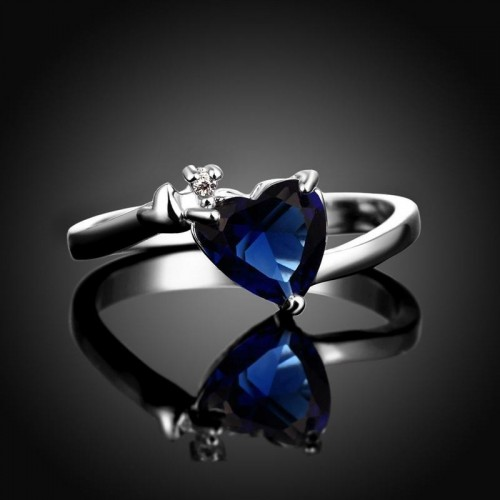 Arihant Romantic Heart Crystal Silver Plated Splendid Ring For Women/Girls 5165