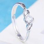 Arihant Delicate American Diamond Silver Plated Elegant Adjustable Ring For Women/Girls 5181